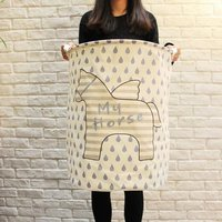 Cute little flying horse stars stripe zakka storage laundry basket large capacity bin 4050cm daily household clothing basket