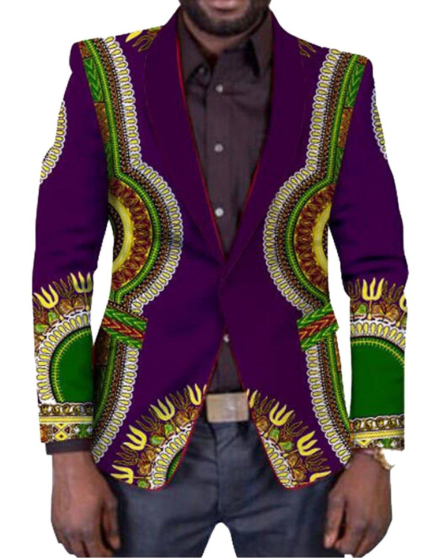 cd573803a8b9 Get Quotations · Jotebriyo Mens Formal Slim Fit African Print Dashiki Long  Sleeve Blazer Jacket Coat
