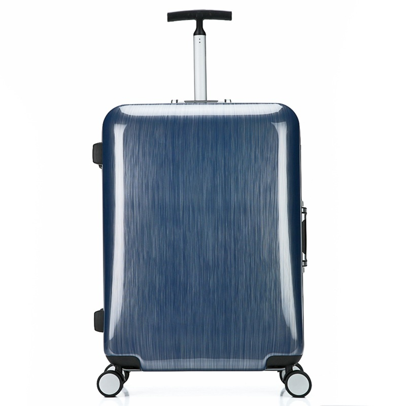 Single trolley brush finish aluminum luggage case with universal wheel