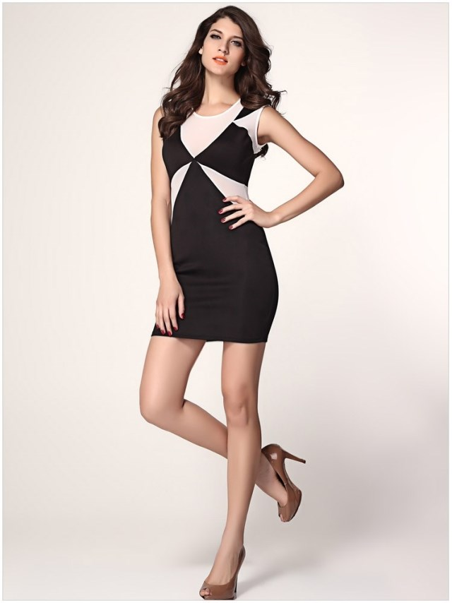c17bc452561b New 2015 Summer Sexy Black White Patchwork Mini Slim Bodycon Elegant Office  Party New A Line
