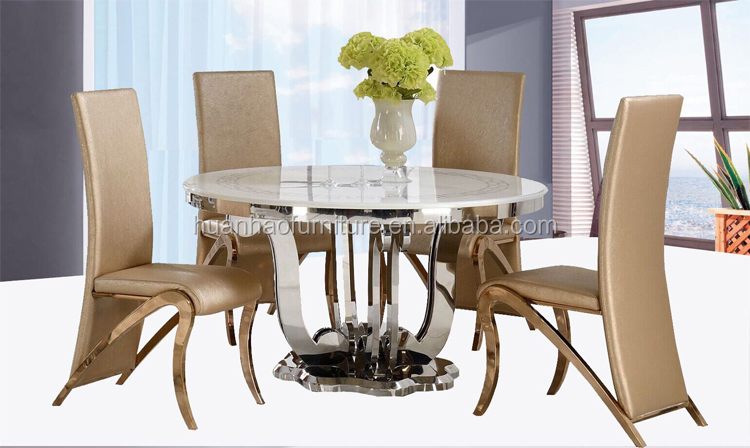 8 Seater Round Glass Marble Dining Table With Lazy Susan DH 828