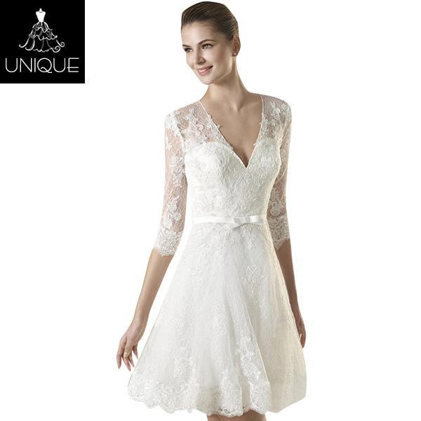 e472e379c 2018 Venta caliente del cordón vestidos de coctel de la boda vestido de  boda blanco hermoso