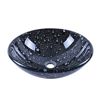 Bathroom 16'' Round Tempered Glass Washbasin With Black Water Drop Pattern Design