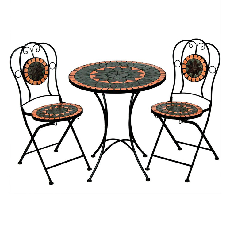 Mosaic Table and Chairs Set Bistro Set - Garden Furniture - 1 Table & 2 foldable Chairs