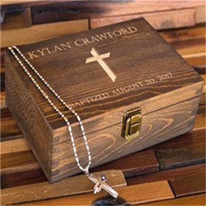 Stain Type Wooden Necklace Cross Gift Storage Box with Lid