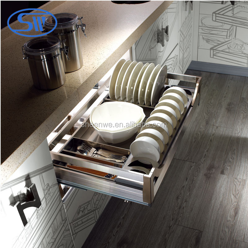 Sw 600wl 3 sides stainless steel drawer basket kitchen for Rak kitchen set