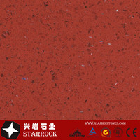 Engineed Artificial Quartz Stone Slabs Looks Like Marble with Red Crystal Sparking