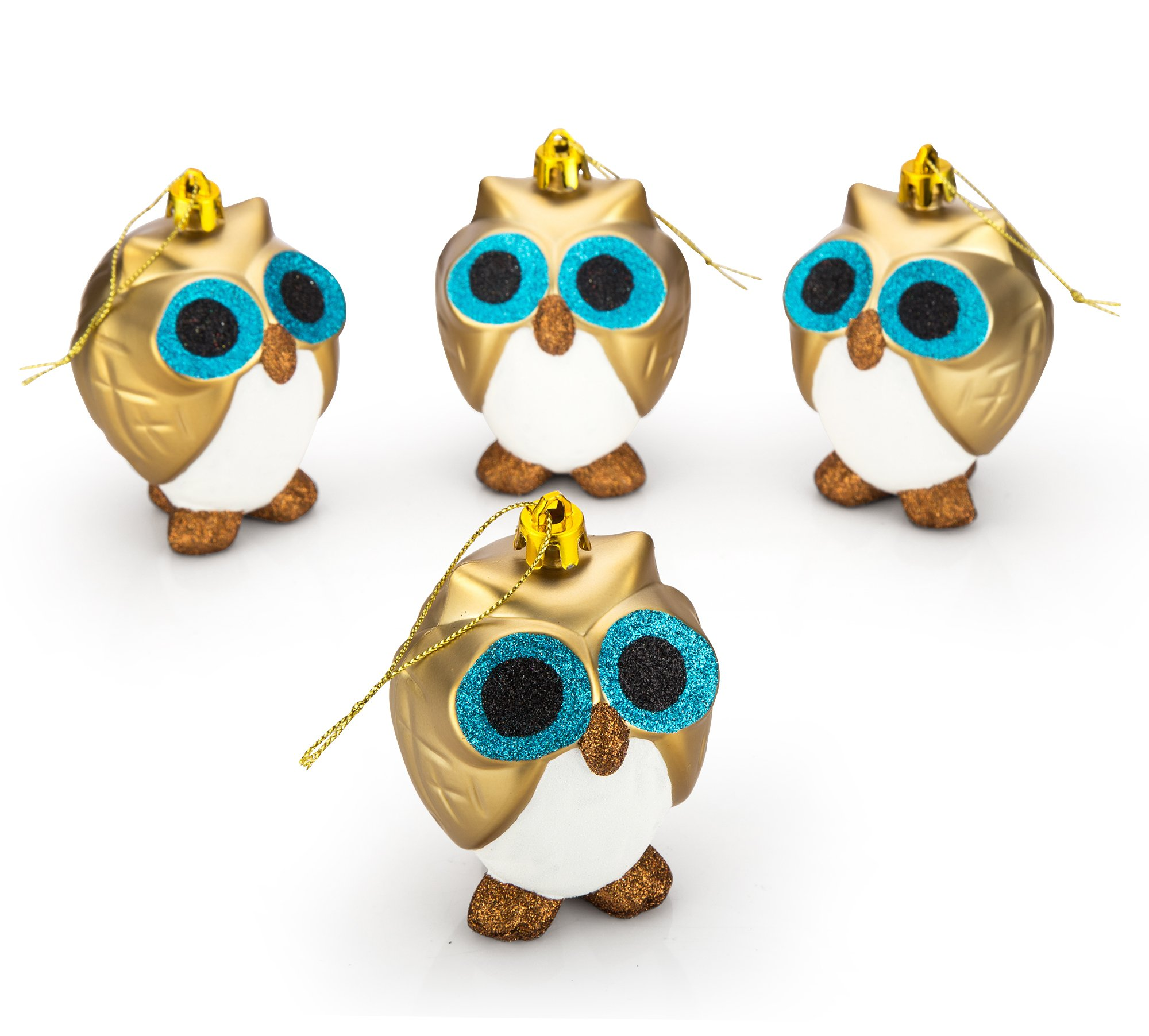 """4ct Owl Christmas Ball Ornaments, Shatterproof Xmas Trees Wedding Parties Tree Decorations Hanging Ornaments Baubles Set, 100mm/3.94"""""""