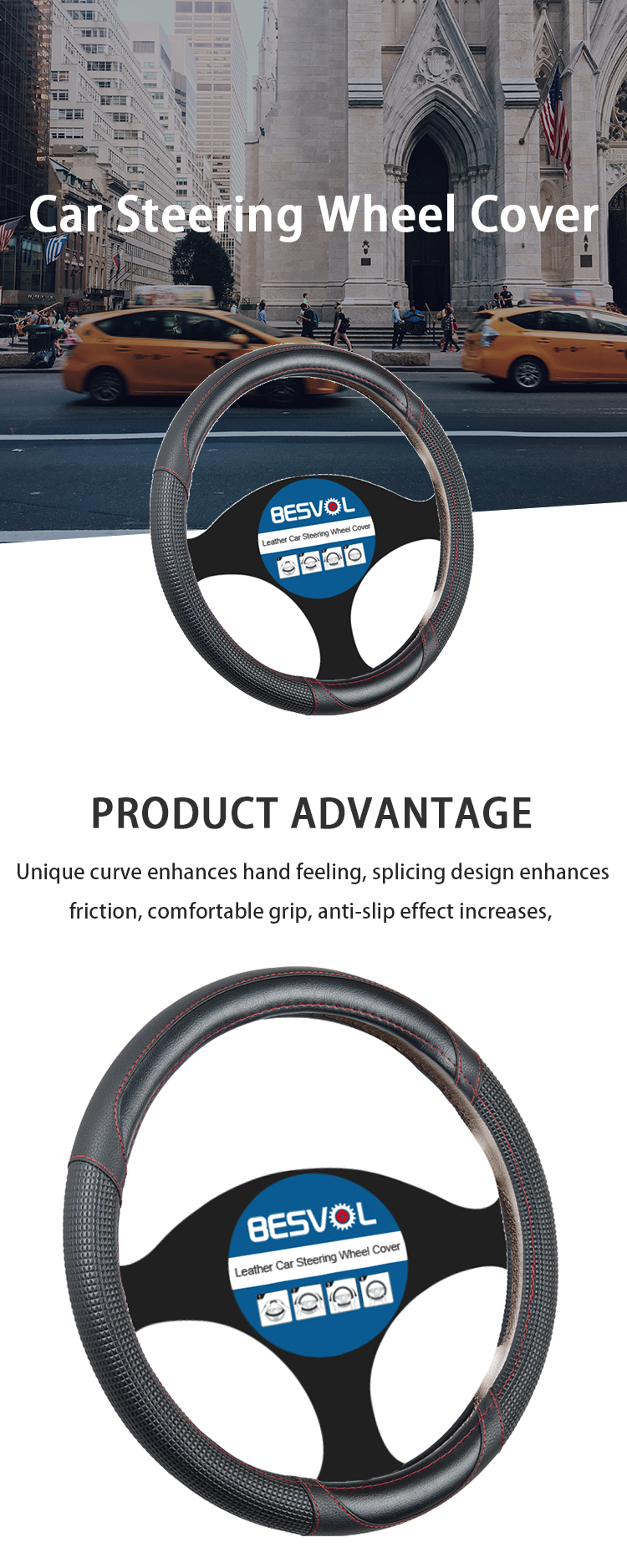FX-P-180945 newly Fashion sport Genuine steering wheel cover