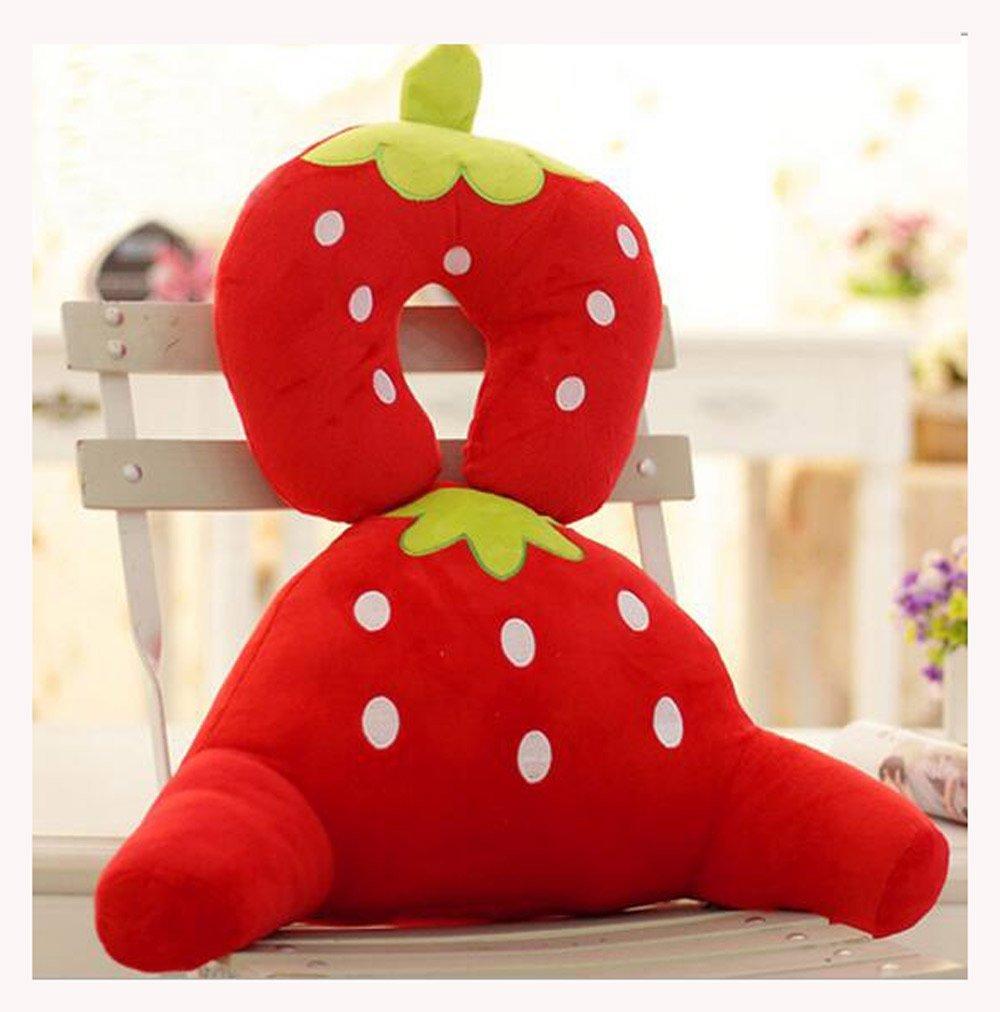 OUUD Cute Animal Design Soft Plush Cotton Waist Back Cushion+ U-shape Neck Pillow Set (Strawberry)