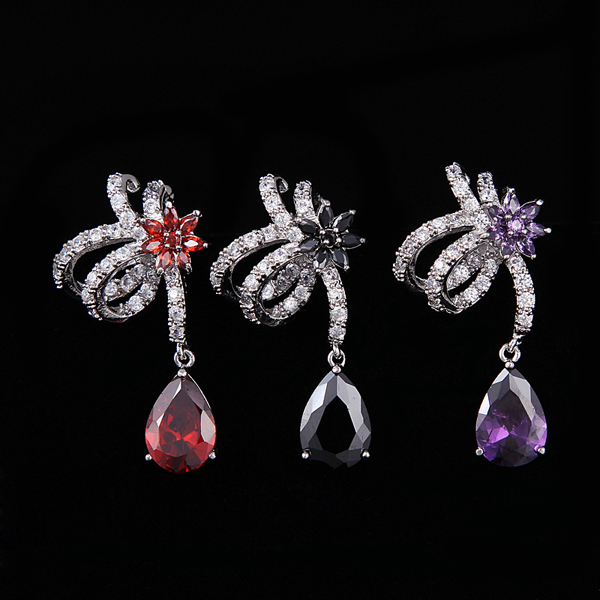 Alibaba Duoying Jewelry Real Gold Plating CZ Pave Hot Sale Angel Wing Party Wear Earring Jewelry