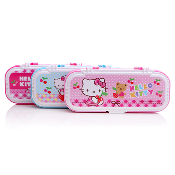 TOPSTHINK Custom hello kitty plastic multifunction pencil case with switch