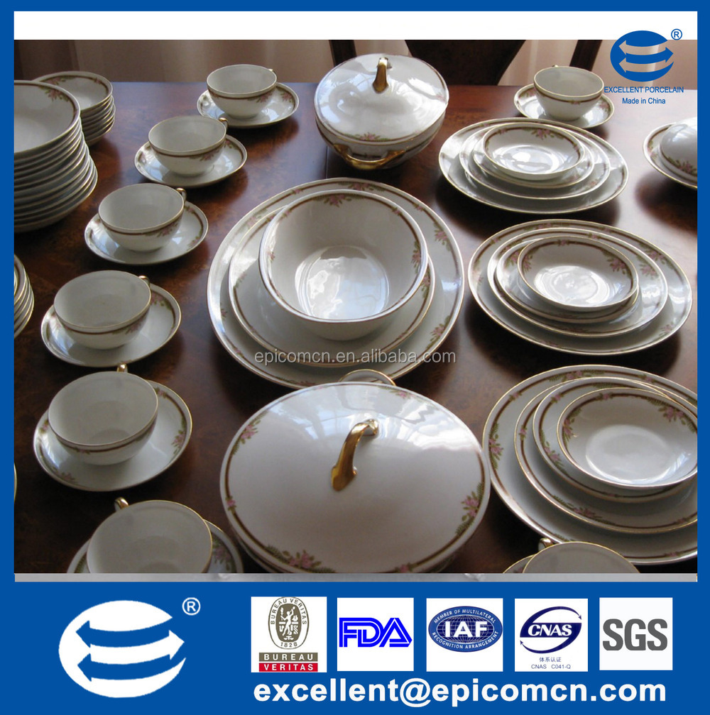Luxury Silver Fine Porcelain Bone China Royal Dinner Set With Grids Decal