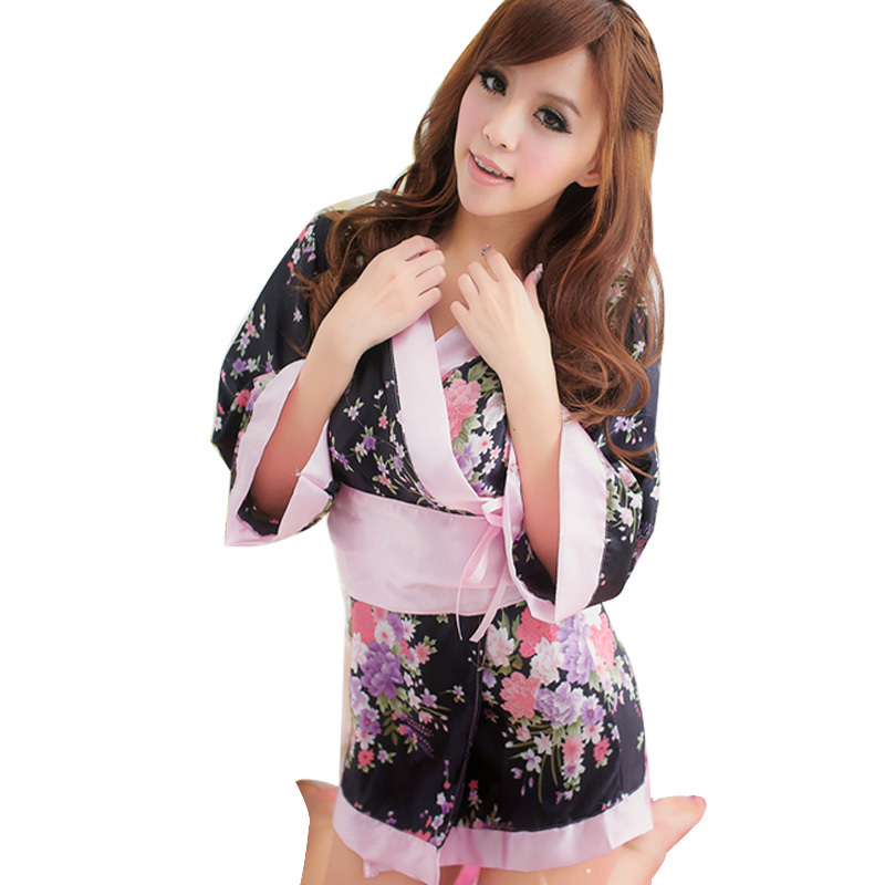 2015 New Japanese style Erotic Sleepwears Floral Print Sexy Kimonos Cosplay Costumes Adult Porn Lingerie Underwear For Women 11