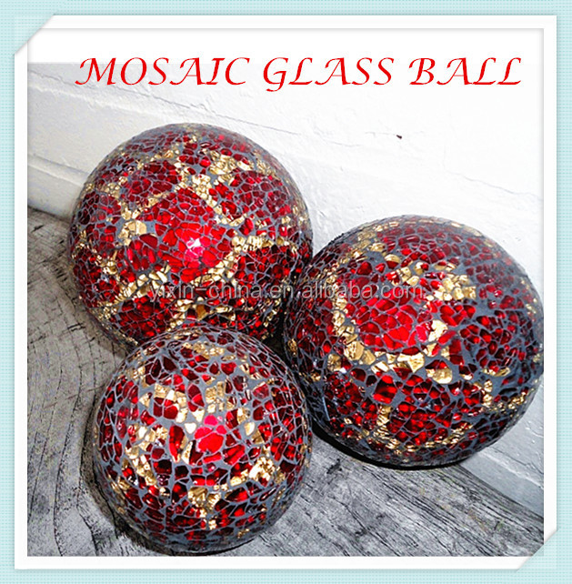 Red with silvery garden yard glass decor gazing mosaic