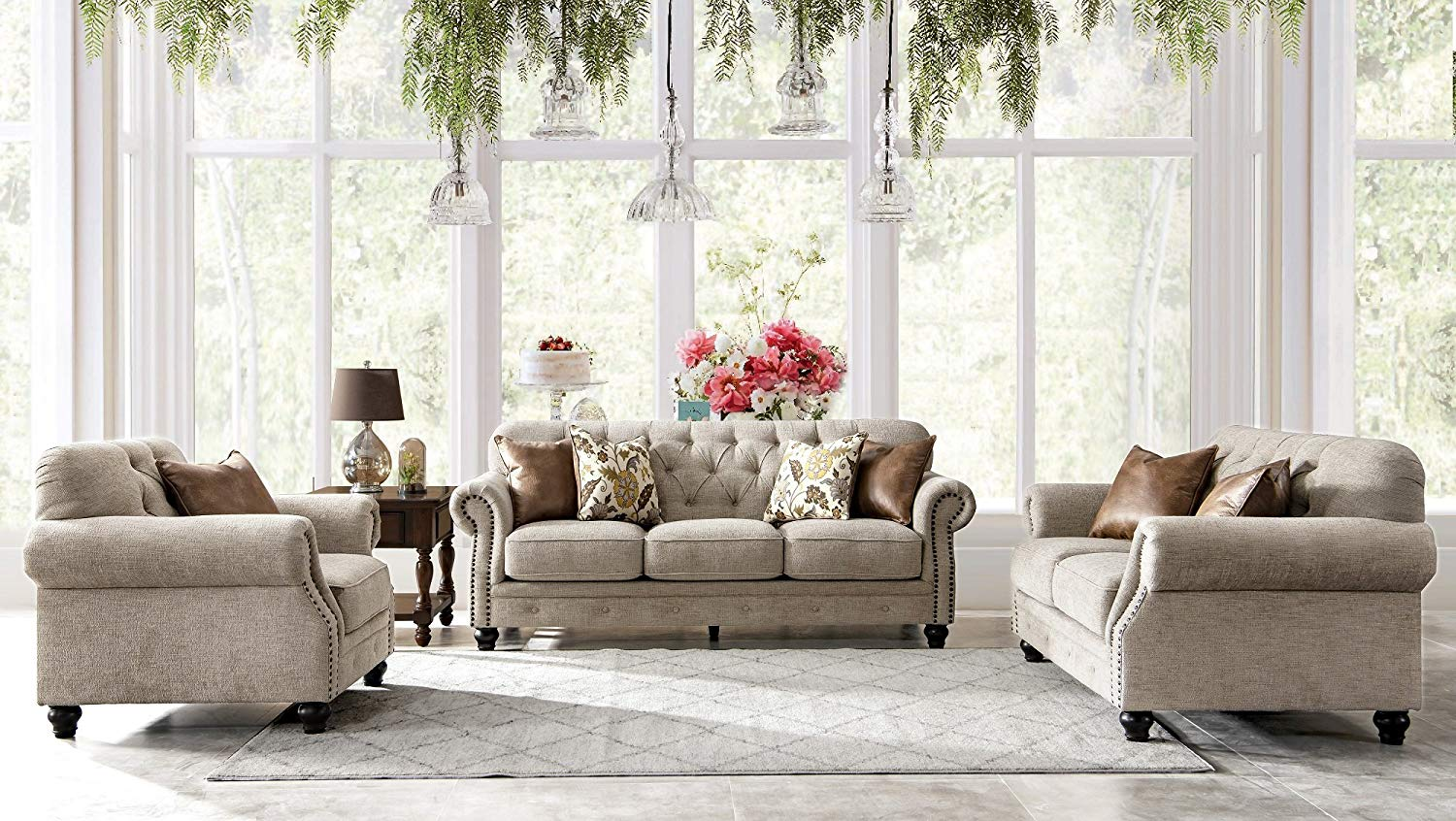 Get Quotations Acanva Chesterfield Chenille Living Room Sofa 3 Piece Set Almond