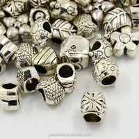 Awesome Alloy European Beads Large Hole Beads Metal Gallery Beads Mixed Shape 100 pcs