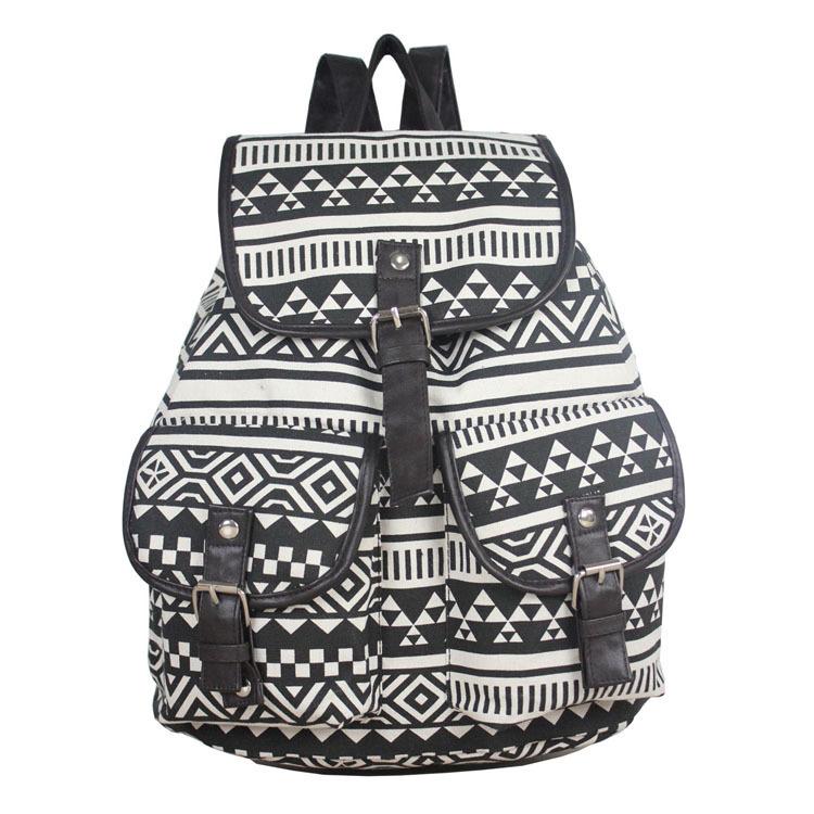 New Design Black White Aztec Canvas Custom Made Backpacks - Buy ...