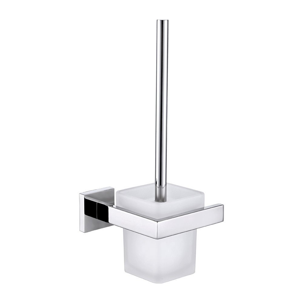 Toilet Bowl Brush with Holder, Angle Simple SUS304 Stainless Steel Toilet Brush Holder, Toilet Cleaning Brush with Caddy, Toilet Scrubber Holder, Toilet Cleaner Brush Set, Polished Chrome