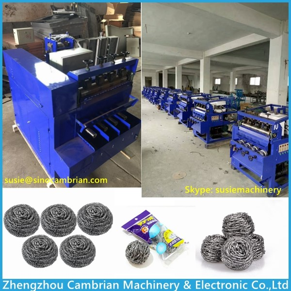 Steel wire drawing and scourer clean ball making combination machine