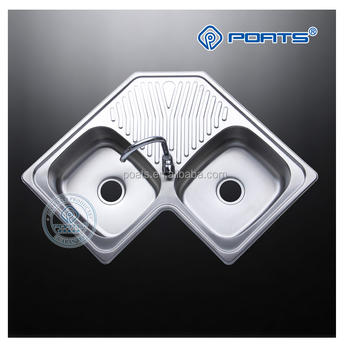 Right Angled Stainless Steel Butterfly Kitchen Corner Sink