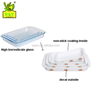 Microwave baking dish rectangular pyrex glass with coating and decal