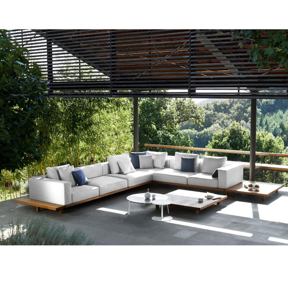 CK801 luxury modern Teak deep seat U shape outdoor sofa set home outdoor big sofa water proof UV anti wooden sofa