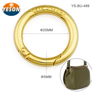 Handbag Accessory Round O Gold Metal Spring Rings