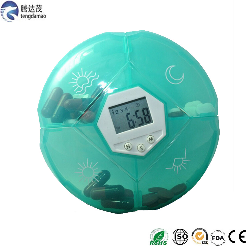 high quality portable Digital timer Medicine Reminder Pills box 4 Compartments small pocket pill box