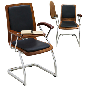 Leather wooden bentwood office school visitor training chair with writing table board foshan price components