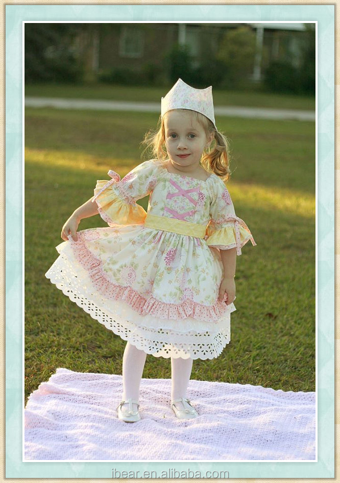 2016 new fashion baby girl dress persnickety remake fall outfits tunic ttriple ruffle layers frock rose clarie Victorian style
