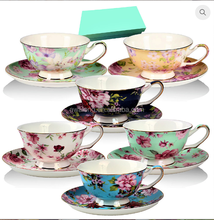 Top Grade Bloemen Thee Cup Schotel Set Met Bone China Tea Cups <span class=keywords><strong>Vintage</strong></span>