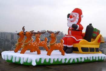 Inflatable Santa With Sleigh And Reindeer In Chair Model For