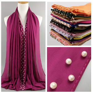 Hot sale top quality 40 colors white pearl chiffon hijab women chiffon dubai muslim scarf hijab wholesale