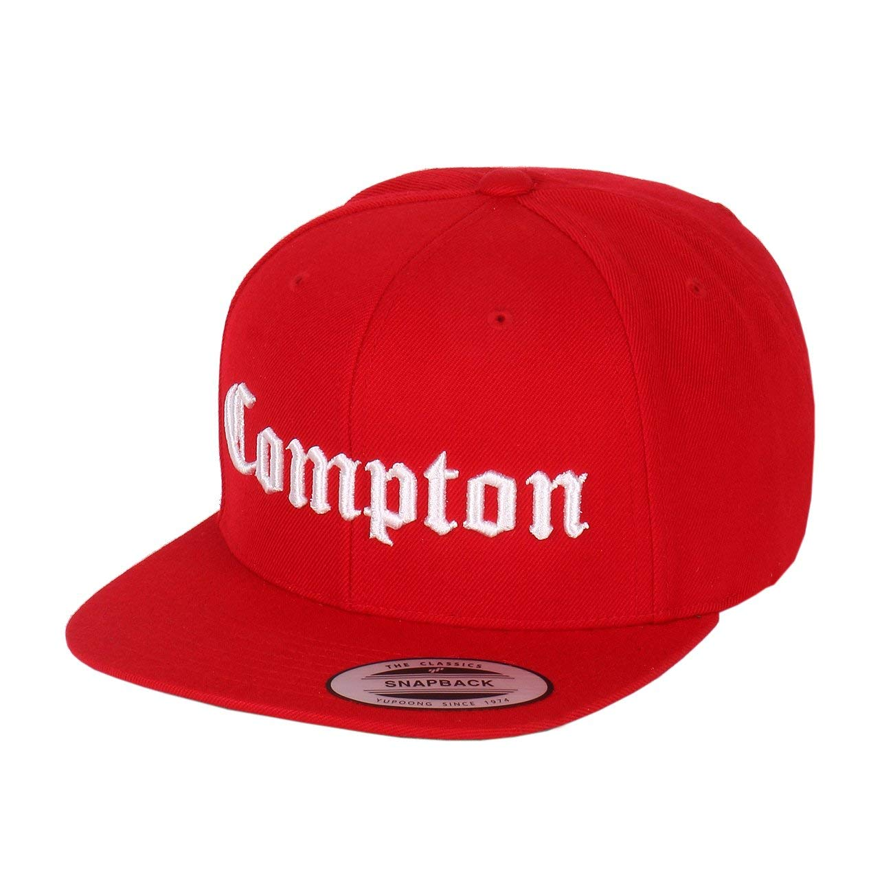 97f79f6dbfe Get Quotations · 1611MAIN Compton Embroidery Flat Bill Adjustable Yupoong  Cap by Flexfit (More Colors)