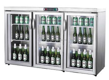 Guangzhou OEM Factory Bar Equipment 3 Door Table Top Glass Door Mini  Refrigerator Bar Fridge