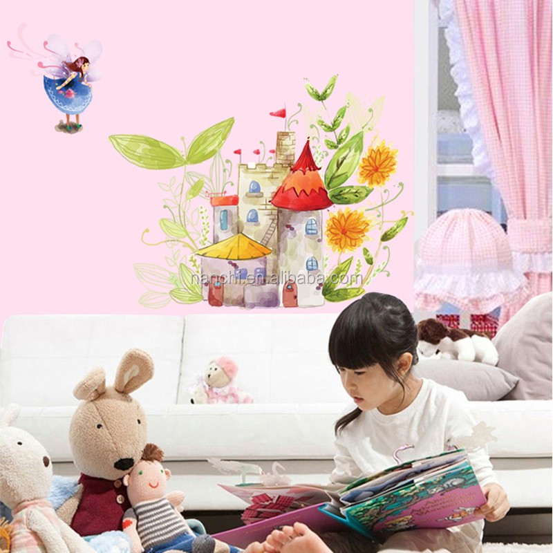 Fairy at the garden Wall Decals for Kids Nursery Living Rooms home decor 3D stickers living room kids room