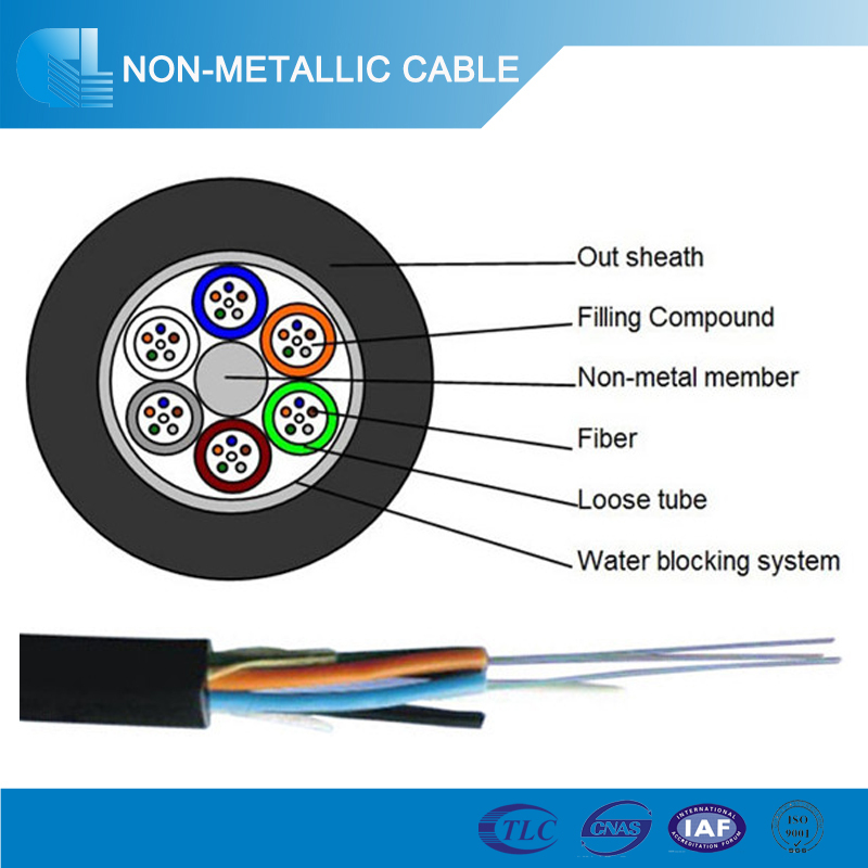 Metal free Single mode G652D fiber opitcal cables 12 core