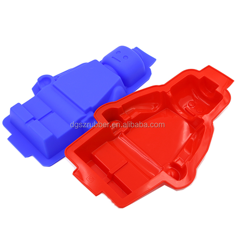 Grote 3D Lego Minifiguurtje Siliconen Mal/Diy Herbruikbare Silicium Ijs Lade/Cake Pan-Bule