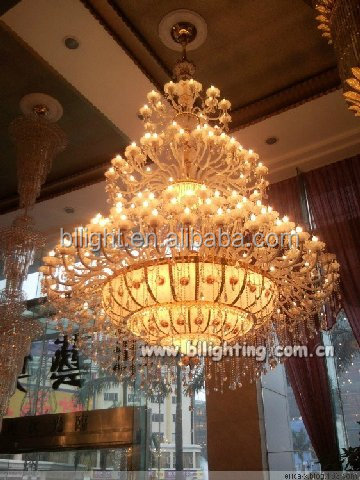 European style large modern hotel crystal chandelier parts