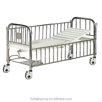 On Wheels Stainless Steel Metal Frame Manual Baby Hospital Bed With Shoe  Rack