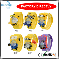 Promotional cheapest gift cute silicone minions watches with slap band for kids