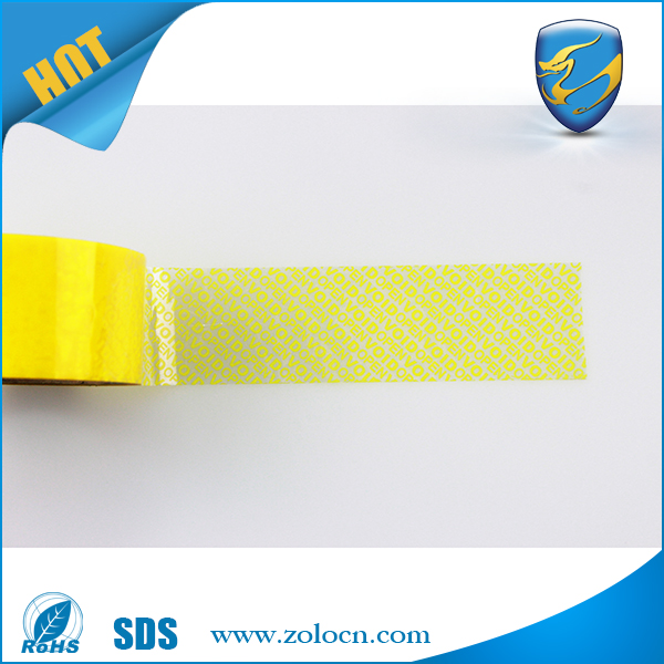 Customized Yellow total transfer Tamper Evident Security Tape for sealing