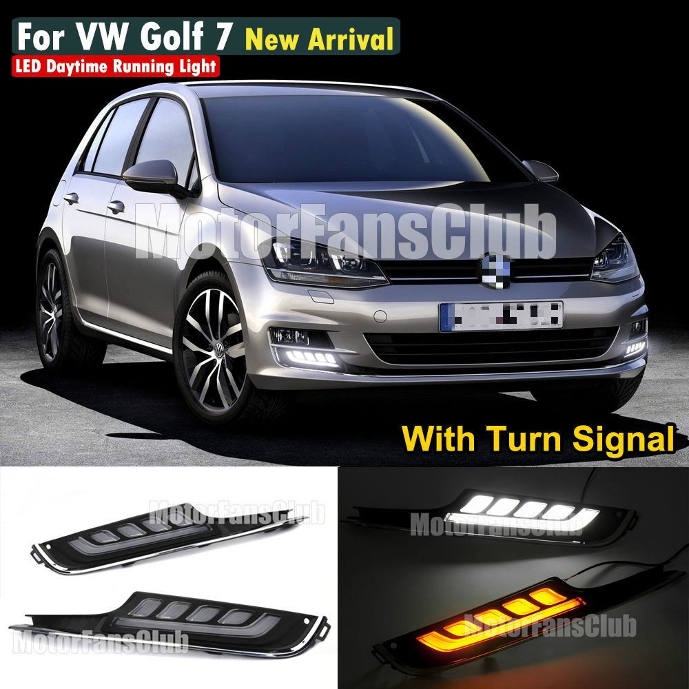 MotorFansClub Daytime Running Light Exact Fit Switchback LED DRL for VW Volkswagen Golf 7 MK7 2014-2016 with Turn Signal