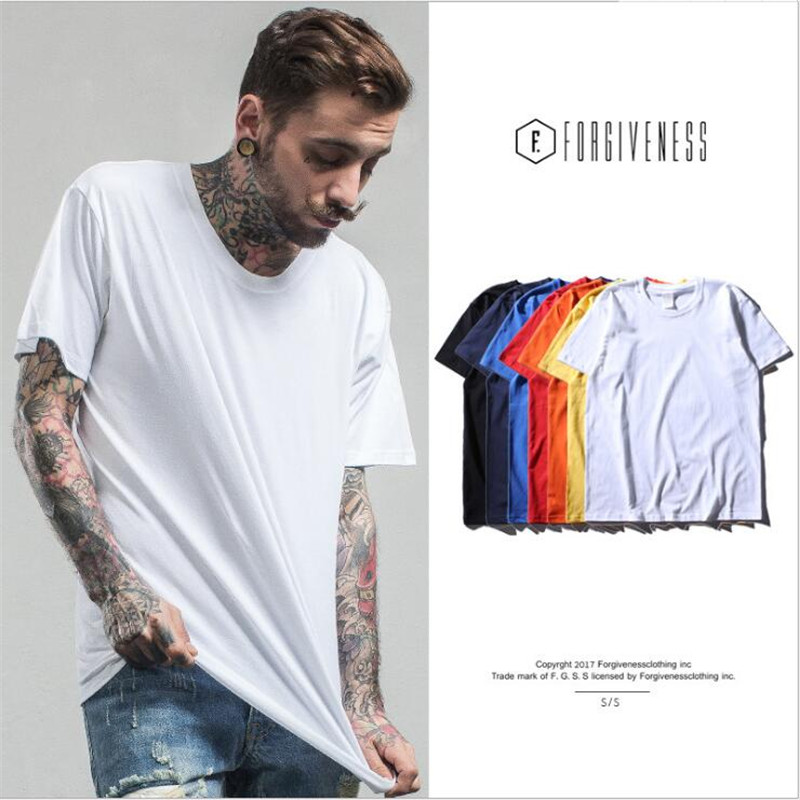 spring and summer fashion Men's Cylindrical Seamless 100% cotton simple Short Sleeve t <strong>shirt</strong> men