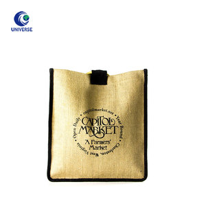 Promotional High Quantity Eco Standard Size Make Your Own Logo Portable Wooden Handle Jute Fabric Grocery Shopping Bag