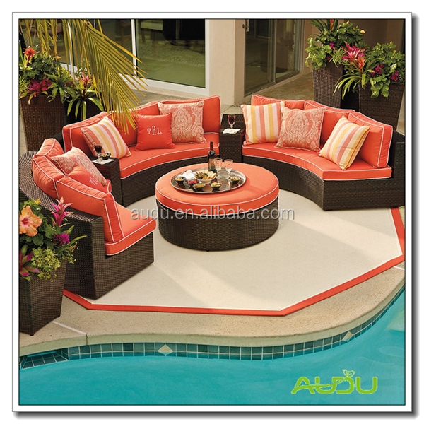 Audu Commercial Resin Oval Wicker Outdoor Lounge Furniture