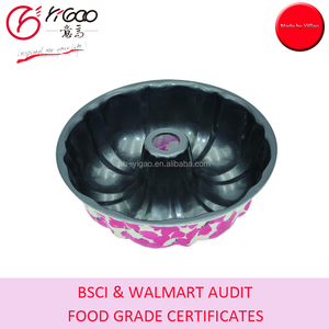 factory audit with food grade certificates full color painted outside metal bundt cake mould