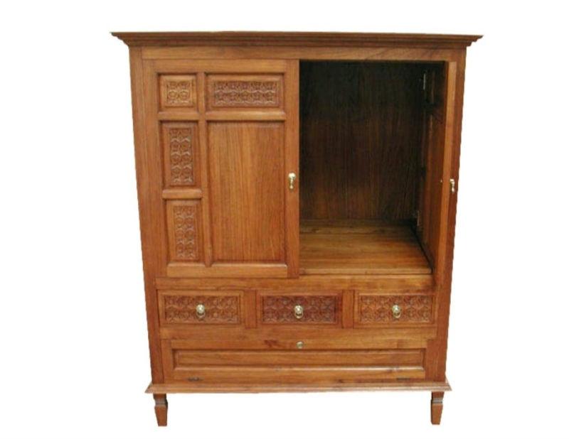 Indoor Wooden Furniture Indonesia Teak Wood Tv Cabinet 3 Drawers 2 Doors