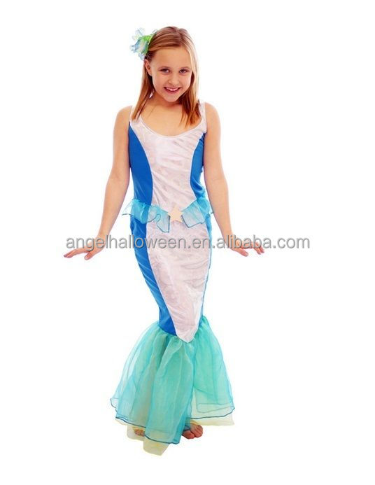 Girl's Mermaid Ariel Fairytale Princess Fancy Dress Costume Outfit Kids Child AGQ2036